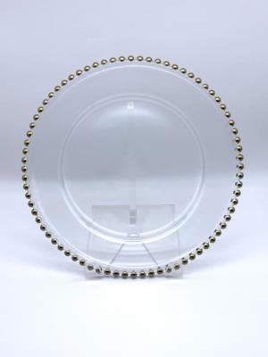 Where to find Glass Gold Beaded Charger 12 in San Francisco