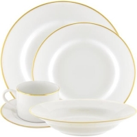 Rental store for White w  Single Gold Band Dishware in San Francisco CA